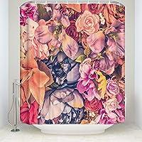 花 バスルーム 防水 防カビシャワーカーテン プラスチックフック付属 幅90×丈180cm Shower Curtains