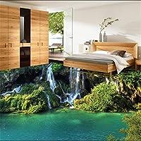 Sproud カスタムの床の審美的なロマンチックな緑の植物山滝 3 D フロア風景厚防水ウェアラブル Pa 400 Cmx 280 Cm