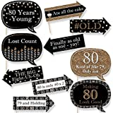 Funny Adult 80th Birthday - Gold - Birthday Party Photo Booth Props Kit - 10 Count
