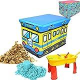 チラカサンド 4kg スペシャルギフトボックス セット 電車 [チラカサンド4kg ストレージボックス 専用テーブル 砂遊び道具4個 型抜き3個 バケツ8個] (A(サンド×ブルー))