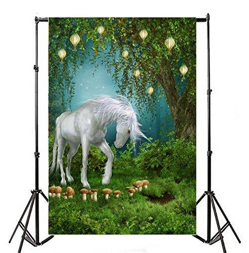 Yeele 6x 8ftファンタジーユニコーンBackdrops Green Meadow Magic Mushroom Magical Gardenツリーランタン写真背景ビニールベビーシャワー女の子パーティー写真撮影ビデオスタジオ小道具