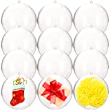 Haawooky Clear Plastic Fillable Ball Ornaments,100mm DIY Craft Acrylic Fillable Balls for Christmas,Wedding,Party Decoration