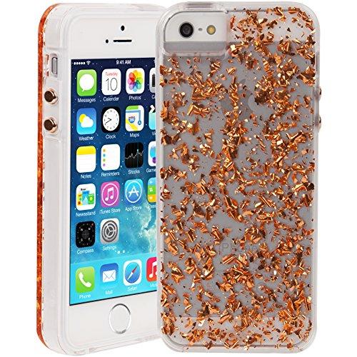 【 18K ローズゴールド金箔 入り 】 Case-Mate 日本正規品 iPhoneSE / 5s / 5 対応 カラット ケース, ローズ ゴールド Karat Case, Rose Gold 【 透明 デュアルレイヤー スリム 】 CM034284