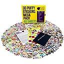 幼児子供用ふわふわシールセット大量40枚入り:かわいい海外デザイン 女の子男の子向 け ハート 花 動物 車 アルファベットの模様 950個以上のステッカー在中 工作 やデコレーションに Purple Ladybug Novelty