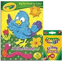 Crayola 塗り絵セット 大きな楽しい本 色付き こんにちはフレンド マルチカラー グリッター クレヨン 16本