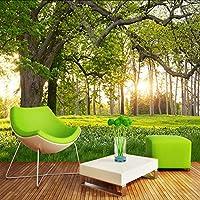 Lixiaoer カスタム写真壁画壁紙森の木日当たりの良い牧草地3D風景テレビの背景壁絵画リビングルームの壁紙家の装飾-250X175Cm