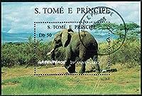 自然保護団体グリーンピース25年の切手/象/サントメ1996年小型シート(済) 動物