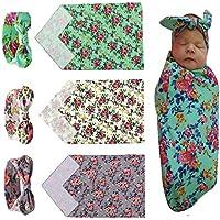 Mookiraer 3setおくるみ袋、おくるみCocoon Sleep Sackおくるみ新生児毛布ヘッドバンドfor Baby