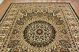 クラシックドームデザインラグ ( レジェンド2 ) 約200х250cm 約 3畳 大 グリーン ペルシャモチーフ  トルコ製 ウィルトン織