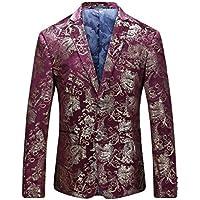 Men's Dress Floral Suit Notched Lapel Slim Fit Stylish Blazer