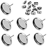 40pcs 12mm Stainless Steel Blank Stud Earring Bezel Setting for Jewelry Making with 40pcs Surgical Steel Earring Backs DIY Fi