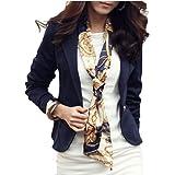 omniscient Womens Work Open Front Suits Loose Long Sleeves Short Blazers