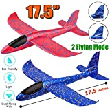 (17.5 Inches) - 2 Pack Aeroplane Toy, 44cm Large Throwing Foam Plane, Dual Flight Mode, Aeroplane Gliders, Flying Aircraft, Gifts for Kids, 3 4 5 6 7 Year Old Boy,Outdoor Sport Game Toys, Birthday Party Favours