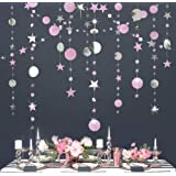 Glitter Pink and Silver Theme Circle Dot Garland Twinkle Little Star Garlands Polka Dots Streamer Backdrop/Bunting Banner for