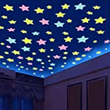 Stars Stickers for Ceiling, Adhesive 100pcs 3D Glowing Stars,Luminous Stars Stickers for Kids Bedroom Decor,Wall Stickers