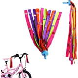 MINI-FACTORY Kids Bike Streamers Pink Pearl/Stars/Flowers - 2Pcs Bicycle Scooter Front Handlebar Tassel Ribbon Decoration for