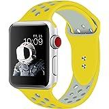 XIHAMA For i Watch Series 6/5/4/3/2/1に対応 替えバンド スマートウォッチ シリコン ベルト交換ストラップ 腕時計バンド 通気 軽量 スポーツバンド (42mm/44mm, イエロー*シルバー)
