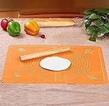 【Ambertech】キッチンの達人 パンこね台シリコン 目盛付きで、生地サイズ一目瞭然 こねる、のばすの作業に大活躍 シリコンマット パンマット 製菓マット シリコンシート 製菓道具   50*40(センチ)