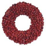 クリスマスリース 造花 天然素材 直径約30cm クリスマス リース 玄関飾り ラメ レッド