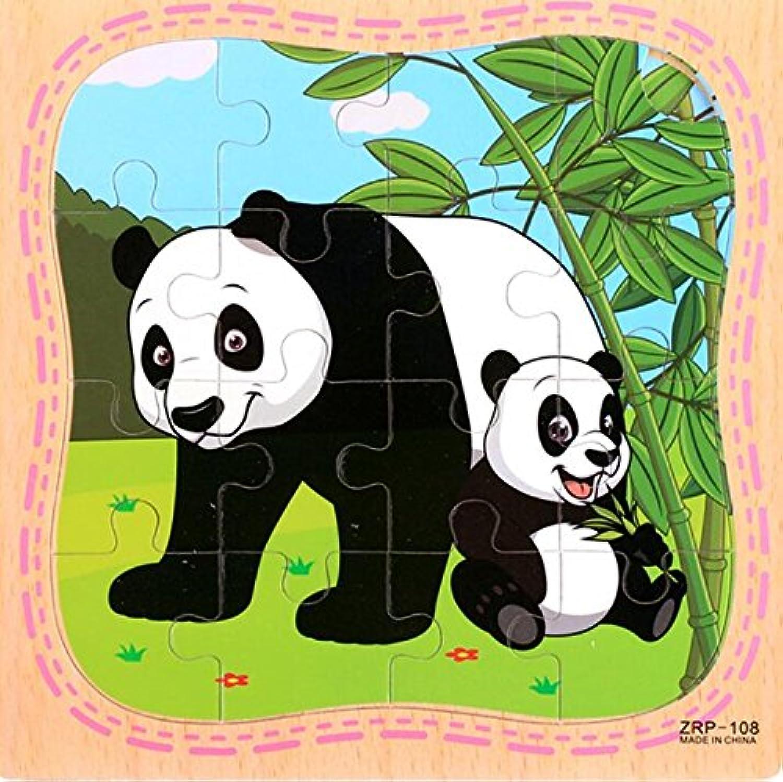 HuaQingPiJu-JP 創造的な木製動物の教育パズルアーリーラーニング番号の形の色の動物のおもちゃキッズ(パンダ)のための素晴らしいギフト