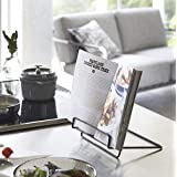 Book Stand Foldable Cookbook Stands Holders for Kitchen Counter,Portable Book Holder Stand for Reading Hands Free(Black)