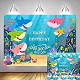 TJTJXRXR 7x5FT Photography Background Baby Shark Starfish Seahorse Cartoon Backdrops for Pictures Happy Birthday Party Banner Decoration Supplies Photo Booth Props (7X5FT, Color-2)