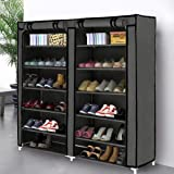 Blissun Shoe Rack Shoe Storage Organizer Cabinet Tower with Nonwoven Fabric cover (7 tiers, Grey)