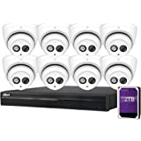Dahua 8CH 6MP PoE Home Security Camera System, 8pcs 6MP Outdoor PoE IP Cameras with Build in MIC, 4K 8-Channel NVR (NVR4108HS