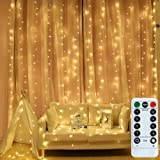 Findyouled Fairy Curtain Lights, USB Powered 300 LED Curtain String Light 8 Modes with Remote for Bedroom Party Wedding Decor