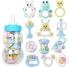 PANCY 赤ちゃん 歯がため おもちゃ セット ガラガラ ラトル 動物 かわいい 収納ケース付き 新生児 プレゼント 出産祝い (12点セット)