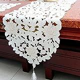 ファッションホーム- ロココ調 テーブルセンター テーブルランナー 刺繍 白地ベージュ花柄 タッセル付き