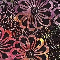 紫やライムグリーン色の花柄黒いバティック調の生地 by Timeless Treasures