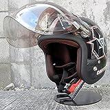 HK 72JAM ジェットヘルメット&シールドセット [SPIKE - ブラック (フリーサイズ:57-60cm)+開閉式バブルシールド (フラッシュミラークリア)] JJ-03 ジャムテック 72ジャム