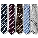 (ピエールタラモン) Pierre Talamon メンズ ビジネス ジャガード織 ネクタイ 5本セット 8cm ネクタイ ストライプ ドット 小紋 柄 05