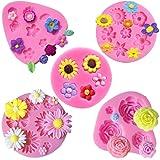 Flower Fondant Cake Molds-4 Pcs-Daisy Flower,Rose Flower,Chrysanthemum Flower and Small Flower,Candy Silicone Molds Set for C