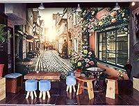 ZLJTYN [ たいの異なるサイズ-お問い合わせ ] 3 D -ヨーロッパの牧歌的な-大規模な壁画-ヨーロッパの町のストリートビューは-壁紙-ベッドルーム-リビングルーム-カフェ-レストランの壁紙に設定するには-取り外し可能な壁の壁画を自己粘着性大規模な壁紙- 210 x 150 cm