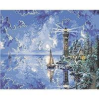 絵画 灯台デジタルDIYの純粋な手描きのオイルがコアリビングルーム風景オイル* 75 * 50/50 40 * 60分の65絵画フレームレス装飾絵画絵画絵画 HYFJP (Size : L)