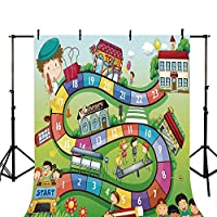 ボードゲーム スタイリッシュな背景 楽しい動物園 様々な動物 サークル ターゲット ゴリラ キリン 車の中の子供 星条旗 写真用装飾 幅39.3インチ x 高さ59インチ