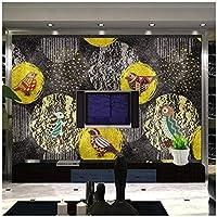 山笑の美 現代の手描きグラフィック鳥の背景カスタム壁画緑の壁紙-120X100CM