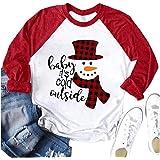 Merry Christmas Shirt Women's Let It Snow Christmas Snowman T Shirt Baseball T-Shirt Funny 3/4 Raglan Sleeve Top Tees Shirt