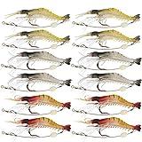 Goture(ゴチュール)エビ ワーム 釣りルアー 夜釣り ソフト シュリンプワーム 海老ルアー 夜間発光 疑似餌 3.5インチ 6g 12個セット