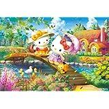 1000ピース ジグソーパズル ハローキティの花咲くコテージ (49x72cm)