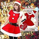 Ashuneru クリスマス サンタ コスプレ 衣装 レディース (帽子 ワンピース ベルト 手袋) もこもこ 4点セット XO-V005