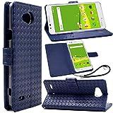 F.G.S au Qua phone PX LGV33 ケース 手帳型 ストラップ付き Qua Phone PX カバー Qua Phone PX 手帳型 ケース LGV33手帳 LGV33 カバー カードホルダ、スタンド機能付き ブルー F.G.S正規代理品