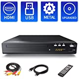 Sandoo DVDプレーヤー、1080P DVD/CD再生専用、合金材料外郭リモコン、 TV用全地域DVD CD /ディスクプレーヤー、リージョンフリー、HDMI / AV出力付き、HDMI / AVケーブル付属、USB端子、内蔵信号システム:PAL / NTSC / AUTO、MP2208