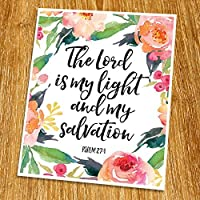 Psalm 27:1 The Lord is my light Print (Unframed) Watercolor Flower Scripture Art Bible Verse Print Christian Wall Art Word of Wisdom Inspiration Quote 8x10 TC-056 [並行輸入品]