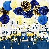Royal Prince ベビーシャワーデコレーション Furuix ネイビークリームゴールド ブライダルシャワーデコレーション ティッシュポンポンネイビーハニカムボール スターガーランド 誕生日 男の子 王子パーティー用品 誕生日パーティーデコレーション