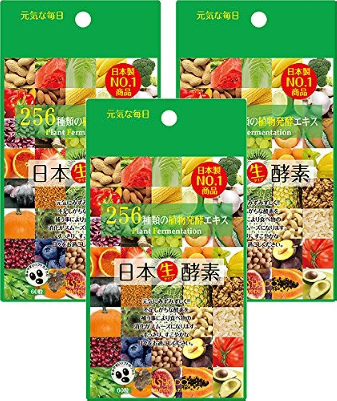 妖精航空便解決【日本製】日本生酵素 (60粒×3袋セット) 国内厳選256種類の植物発酵エキス