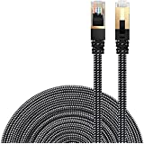 Ethernet Cable Cat 7 DanYee Flat High Speed Nylon LAN Network Patch Cable Gold Plated Plug STP Wires CAT 7 RJ45 Ethernet Cable 0.5M 1M 2M 3M 5M 8M 10M 15M 20M 30M(Black-3m)