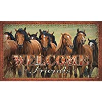River's Edge Products Horses Door Mat [並行輸入品]